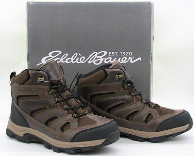 Eddie Bauer Men's Fairmont Hiking Boots Shoes Waterproof Brown Leather Sz 11 New