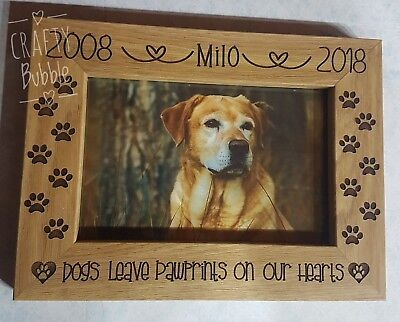 Personalised memorial engraved photo frame dog paw prints on heart