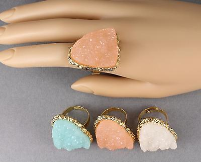 faux druzy ring Big Huge cocktail ring drusy gem stone funky fun statement piece](Fun Rings)
