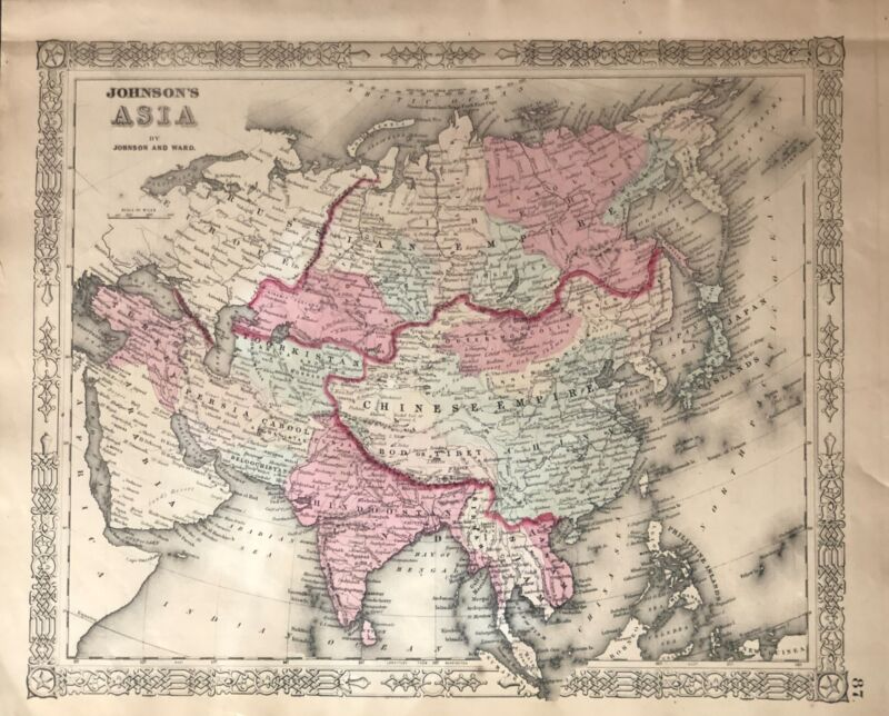 Beautiful hand colored map of Asia by Johnson & Ward 1863