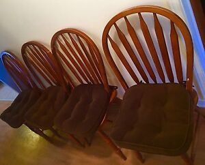 Dining set with pedestal table and 4 wooden chairs. AVAILABLE
