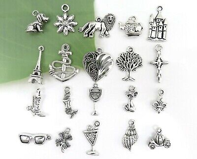 20 CAKE PULL Charms, Antique Silver Mixed Collection Lot Set Ribbon Pull Wedding Cake Mix Set