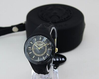NEW AUTHENTIC VERSUS VERSACE FIRE ISLAND BLACK SILICONE WOMEN'S VSPOQ0718 WATCH