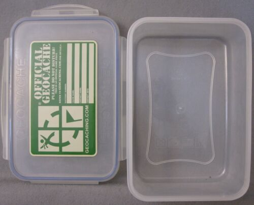 """LARGE (8 1/2 x 6"""") OFFICIAL GEOCACHE CONTAINER WITH INFORMATION LABEL"""