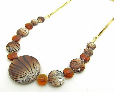 Animal Print Shell & Glass Beaded Necklace ()