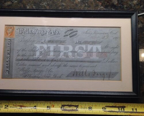 WELLS FARGO AND CO MONEY ORDER/SIGHT DRAFT GOLD 1868 SAN FRANCISCO CA