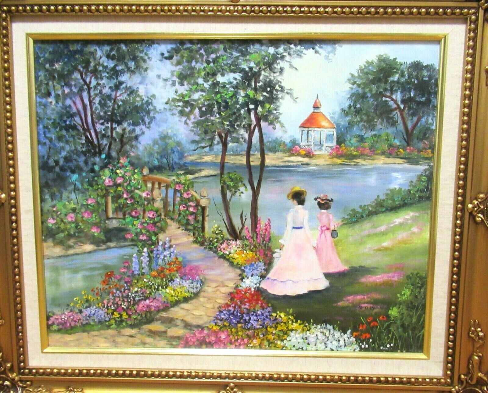 SHIRLEY WOMAN GARDEN BRIDGE ORIGINAL OIL ON CANVAS LANDSCAPE PAINTING - $225.00