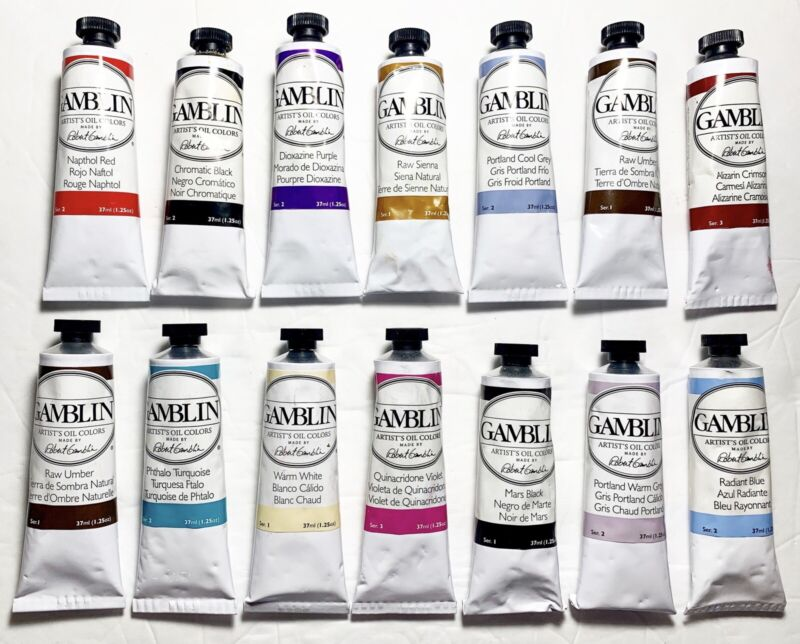 LOT OF 14 GAMBLIN ARTISTS OIL COLORS PAINT TUBES ~ 37ML MIXED COLORS NEW! *SALE*