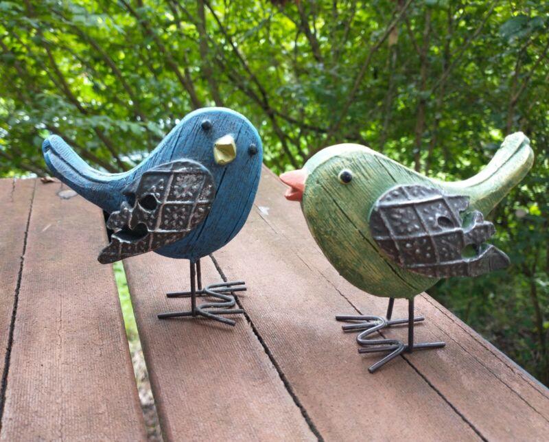 Green Blue Resin Metal Distressed Bird Figurines Set of 2