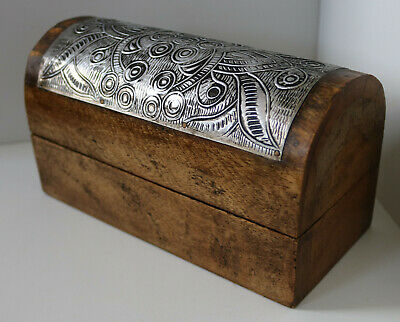 VINTAGE HAND MADE WOODEN BOX / METAL INLAY TRINKET JEWELLERY ANTIQUE CHEST / 11