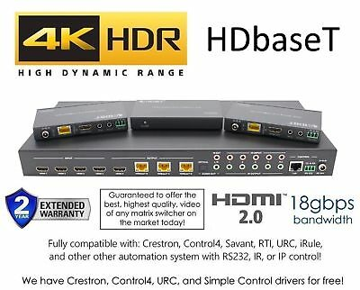 4x4 HDR 18GBPS HDbaseT 4K HDMI Matrix SWITCHER 3 PoC Receivers HDMI 2.0, used for sale  Shipping to India