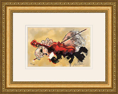 "50% SALE Original HUCHET Color Lithograph ""The Violinist"" HAND SIGNED Framed COA"