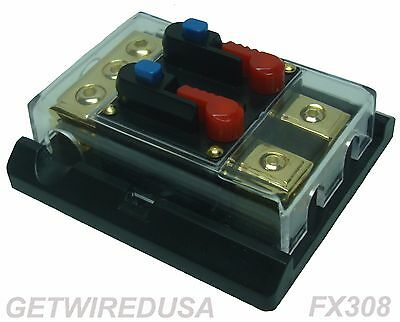 1 IN 2 OUT 300-AMP DUAL CIRCUIT BREAKER POWER DISTRIBUTION BLOCK 4 GAUGE 8 GAUGE