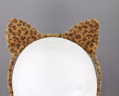 Brown Dark Brown cat ears headband cheetah soft faux fur furry kitten hair band