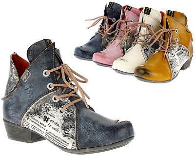 TMA Damen Stiefeletten Frauen Schuhe Leder Boots Stiefel 8818 weiß rot schwarz (Frauen Rote Stiefel)