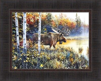 His Domain - MASTER OF HIS DOMAIN by Jim Hansel 17x21 Moose Woods Lake FRAMED PRINT PICTURE