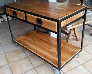 Rustic Bench Trolley Table Kitchen Island Bench Industrial Dining