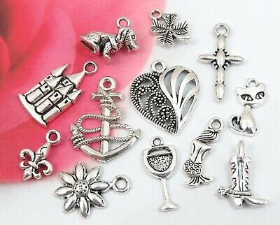 12 CAKE PULL Charms, Antique Silver Mixed Collection Lot Set Ribbon Pull Wedding Cake Mix Set