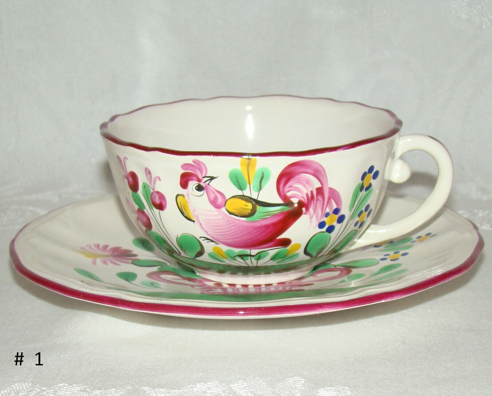 2 Mid Century Vintage St Clement FRANCE Cups Saucers Rooster Motif  - $12.00