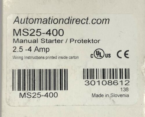 AUTOMATION DIRECT MS25 400 2.5-4 Amp Manual Starter Protector MS25-400