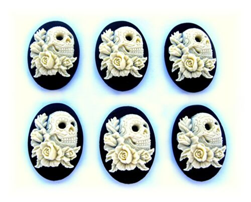 6 Ivory Color on BLACK SKULL w/ Tattoos and Roses 30mm x 20mm Craft CAMEOS