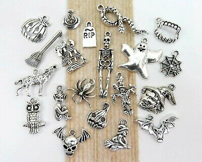 BOO! 20 Different HALLOWEEN Charms, Antique Silver Mixed Charm Collection