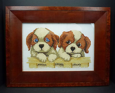 Puppies Completed Framed Cross Stitch Blue Eye Boxer Pit Bull Dogs Puppy
