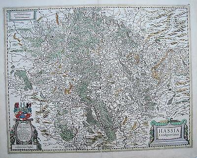 Hessen Kassel Göttingen Eschwege Landau Kupferstich Landkarte Janßonius 1640