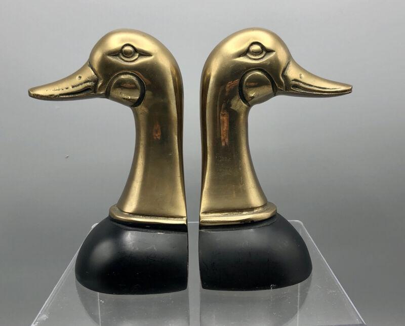 Vintage 70's Brass Duck Head Book Ends Den Study Cabin /b