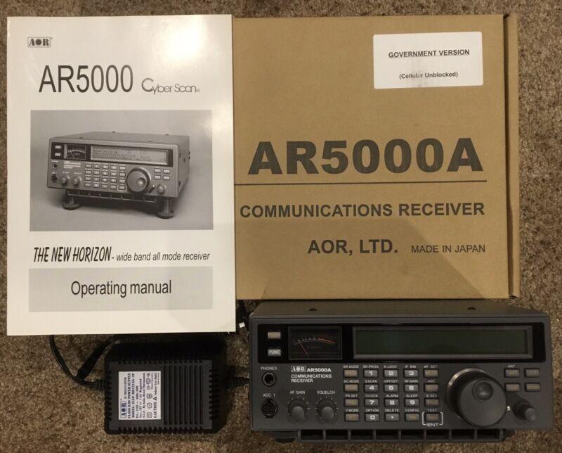 AOR AR5000A+3U Communications Receiver 10kHz-3.0GHz w/ Manual, Power Supply, Box