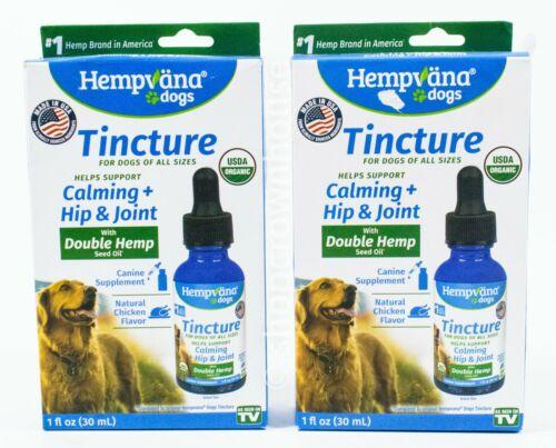 2 Hempvana Dogs Tincture Calming Hip And Joint Supplement Organic Chicken Flavor - $18.99