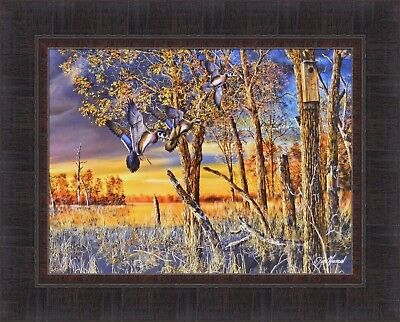 RETURN TO THE REFUGE by Jim Hansel Wood Ducks Backwater 17x21 FRAMED ART (Art To Frames Returns)