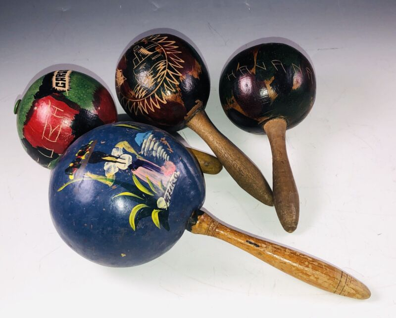 Vintage Mexico & Carribean Latin America C*ba Hand Carved Painted Shaker MARACAS