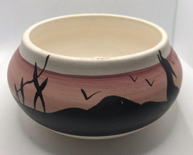 Native American Pottery Clay Pot Hand Painted Desert Navajo dish