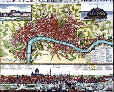 RARE GERMAN PRODUCED PANORAMIC MAP/PLAN OF HANOVARION LONDON 1730 HARDBACK