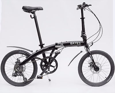 """Aluminio Bicicleta Plegable 20"""" 8 Gang Shimano Freno de Disco Negro Mate"""