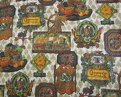 "Baldwin Locomotive 1821 Bird's Inn Print Cotton Upholstery Fabric By Yard 54"" W"