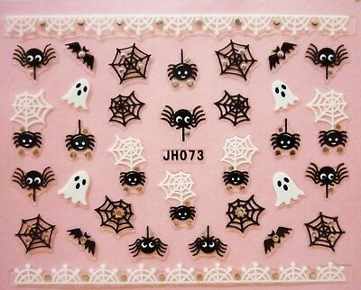 Halloween Nail Art Stickers Transfers Black White Spiders Web Ghost Bats Lace - White Halloween Nails