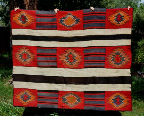 Navajo Indian Chiefs Blanket - 1890 - 1910  Second / Third Phase Variant 56 x 69