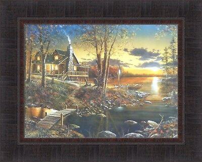 (COMFORTS OF HOME by Jim Hansel 17x21 Log Cabin Lake Boat Sunset FRAMED PRINT)