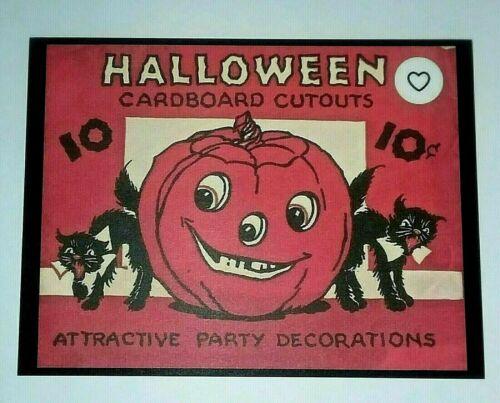 *UNUSED* Halloween Postcard: J-O-L & Black Cats Vintage Image~Reproduction