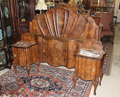 Exquisite Antique French Burl Walnut Venetian Queen Size Bed &2 Nightstand.