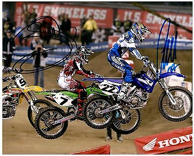 """CHAD REED & JAMES """"BUBBA"""" STEWART dual Signed SUPERCROSS Motocross 8x10 Photo H"""