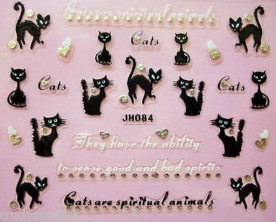 Halloween Nail Art Stickers Decals Scary Black Cats Silver Pussy Cat Hearts - Black And Silver Halloween Nail Art