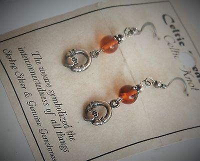 "Celtic Treasures 1 5/8"" Sterling Silver Amber Bead Claddagh Dangle Earrings"