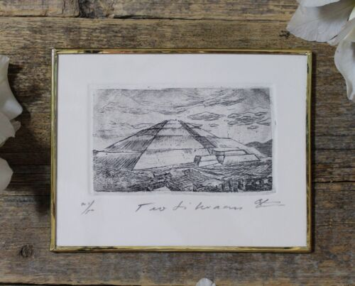 Pyramid of the Sun at Teotihuacan Etching Handmade Mexican Folk Art by Abelar