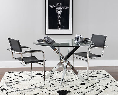 Round Dining Table Modern Contemporary Kitchen Furniture Elegant Glam Chrome NEW