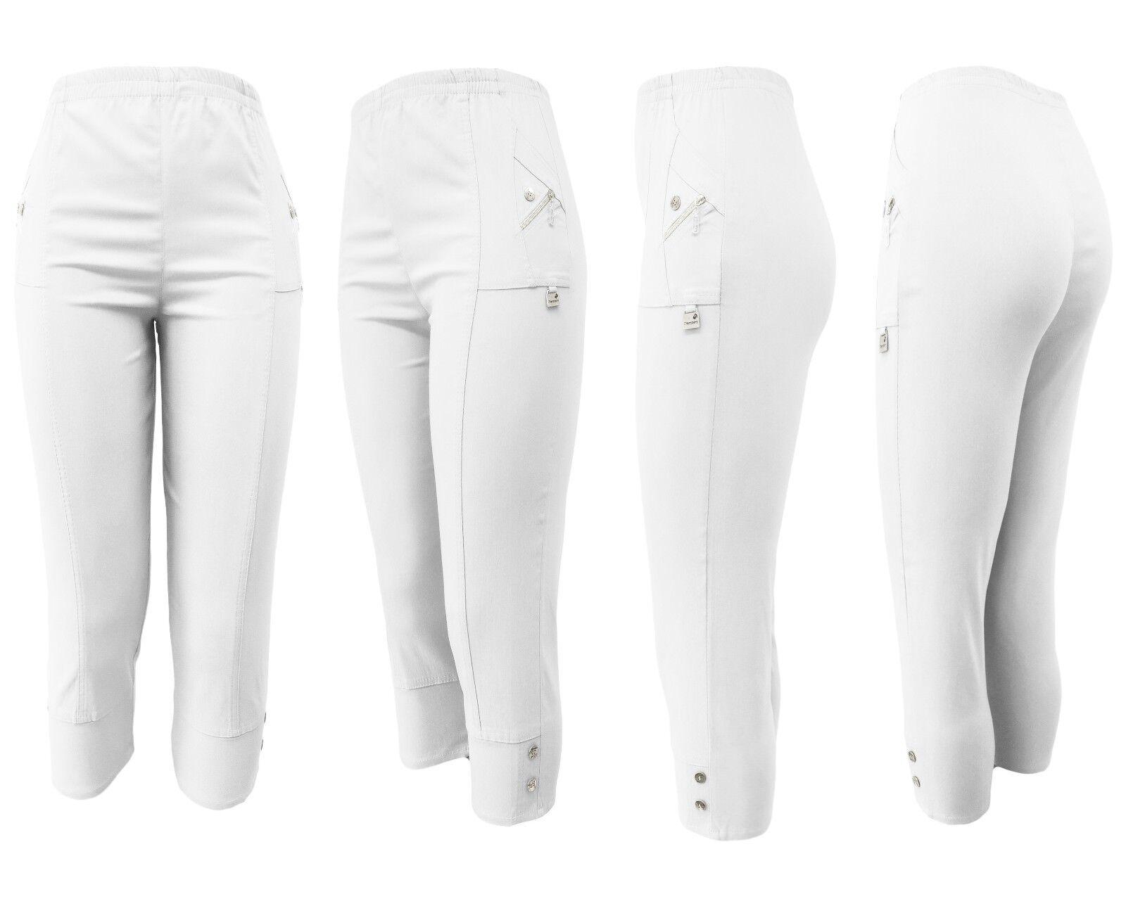 Kurze Hosen Damen - 7/8 Stoffhose mit Gummizug leichte Capri Stoffhose Gr. 38-54