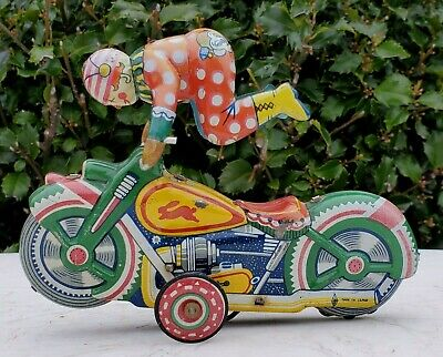 Acrocycle Circus Clown Trick Motorcycle Alps Japan Tin Litho Key Wind-WORKS! (Motorcycle Tin)