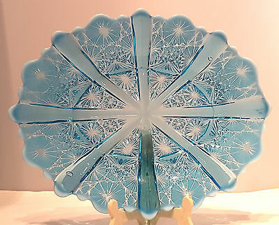 """DAVIDSON~LADY CHIPPENDALE~RD:176566~BLUE PEARLINE~GLASS~OVAL PLATE~8~3/4""""L~#1/2"""